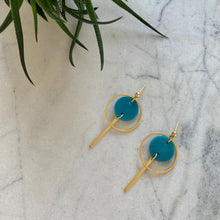 Load image into Gallery viewer, Mini Halo Earrings- Mediterranean Blue