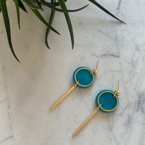 Mini Rise Earrings- Mediterranean Blue