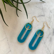 Load image into Gallery viewer, Elliptical Earrings- Mediterranean Blue