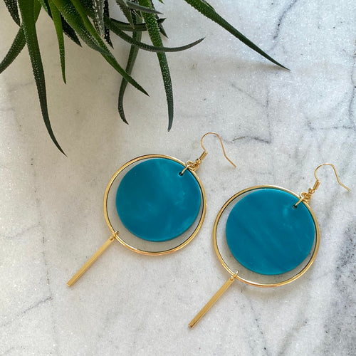 Halo Earrings- Mediterranean Blue