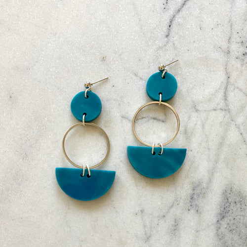 Mini Eclipse Earrings- Mediterranean Blue