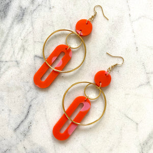 Solar Earrings- Orange & Pink Spot