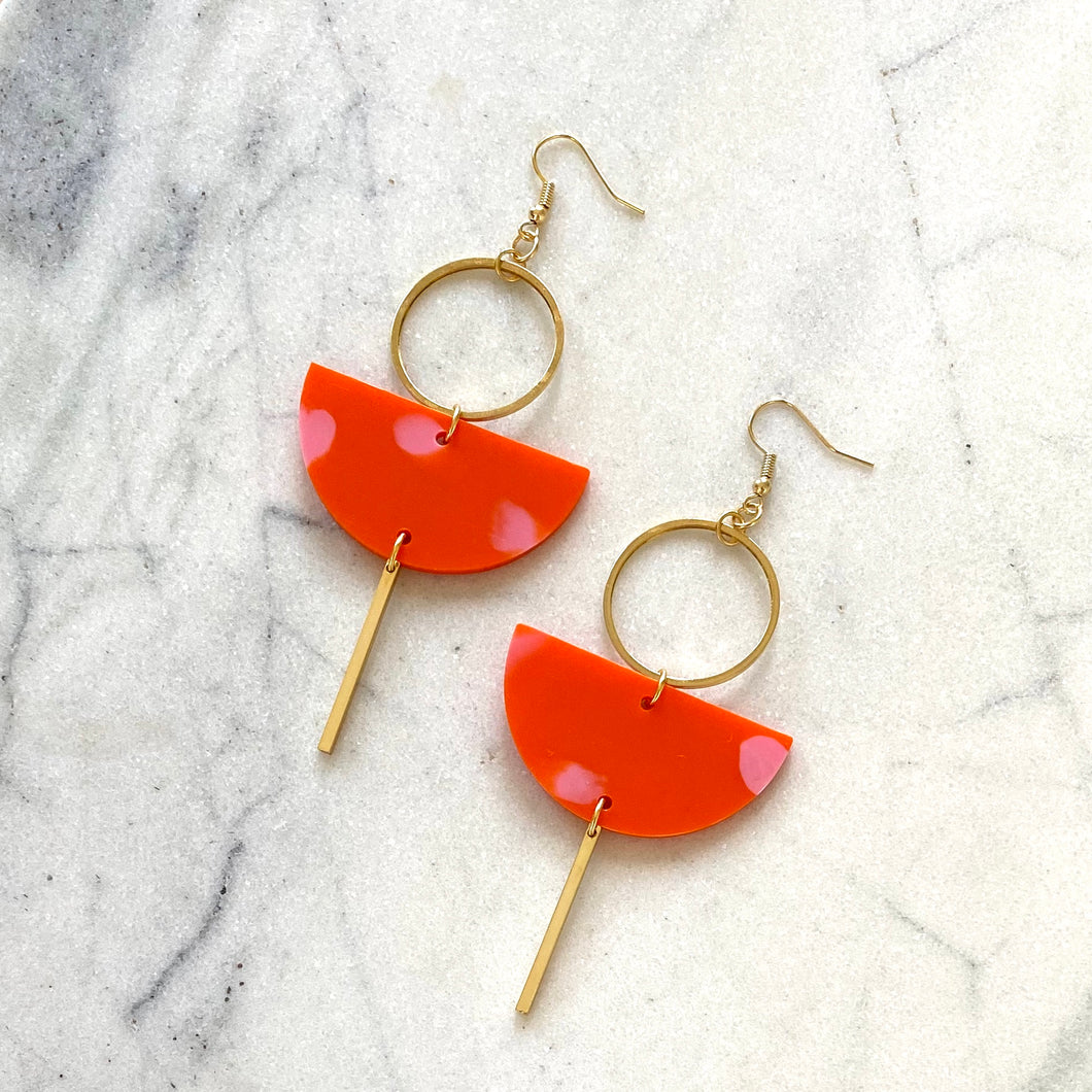 Eclipse Earrings- Orange & Pink Spot