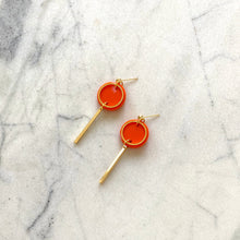 Load image into Gallery viewer, Mini Rise Earrings- Orange & Pink Spot