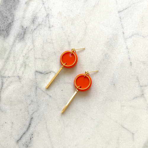 Mini Rise Earrings- Orange & Pink Spot