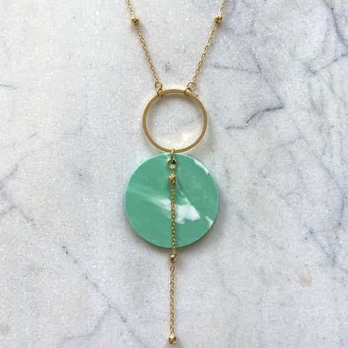 Celestial Necklace- Jade Green Marble