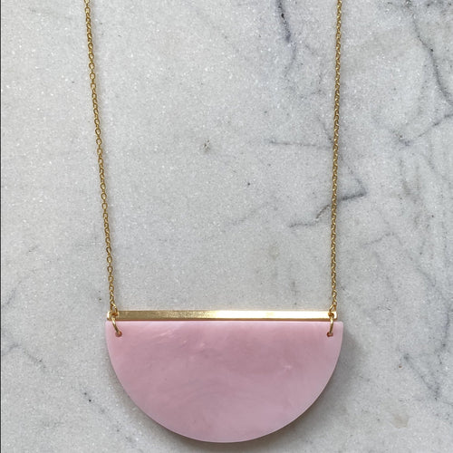 Eclipse Necklace- Pearlescent Pink Marble