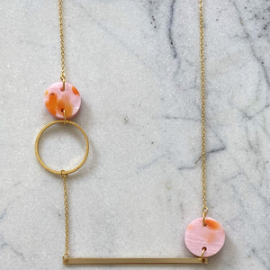 Heavenly Bodies Necklace- Pink with Orange Spot
