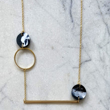 Load image into Gallery viewer, Heavenly Bodies Necklace- Black & White Marble