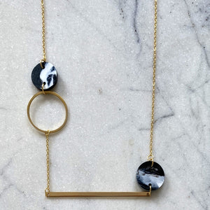 Heavenly Bodies Necklace- Black & White Marble