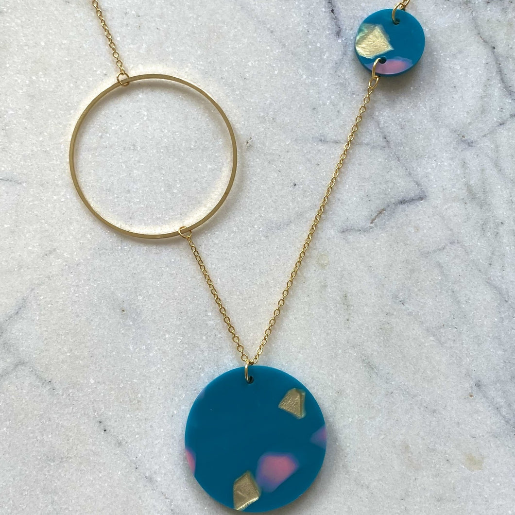 Constellation Necklace- Teal with Pink & Gold Spot