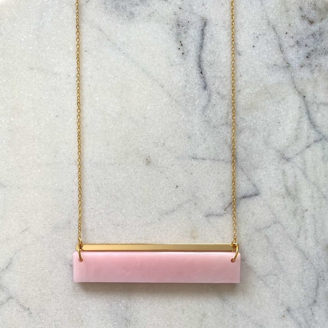 Horizon Necklace- Pearlescent Pink Marble