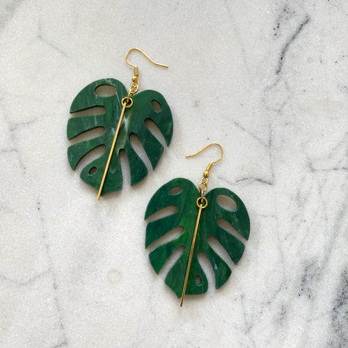 Monstera Earrings- Pine Green