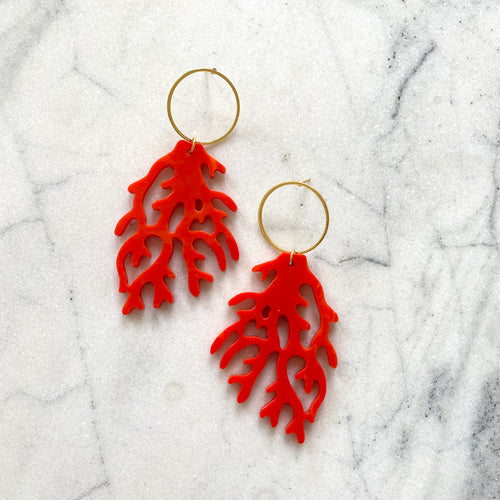 Coral Reef Earrings (Large)- Scarlet