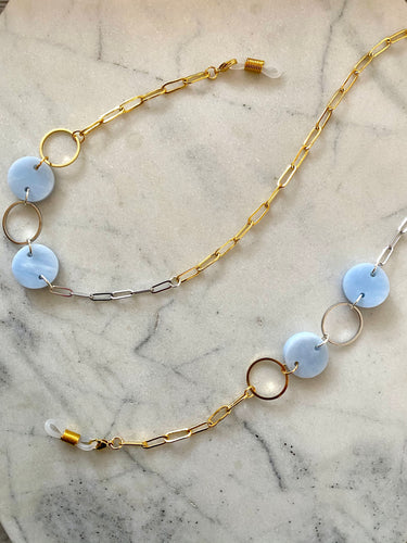 Mask & Glasses Chain- Soft Blue Marble