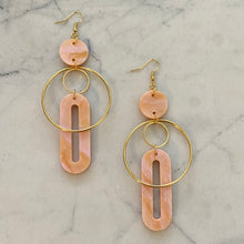 Load image into Gallery viewer, Solar Earrings- Peach Agate
