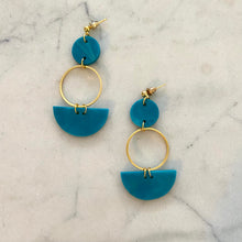 Load image into Gallery viewer, Mini Eclipse Earrings- Teal & Gold