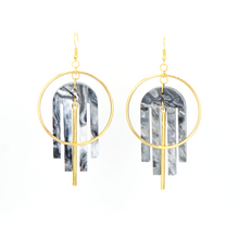 Load image into Gallery viewer, Arch Deco Earrings- Black & White Marble