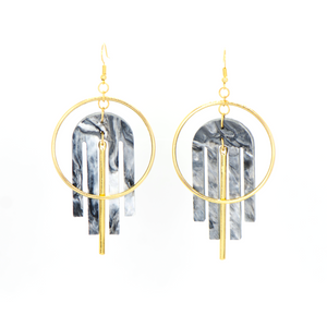 Arch Deco Earrings- Black & White Marble