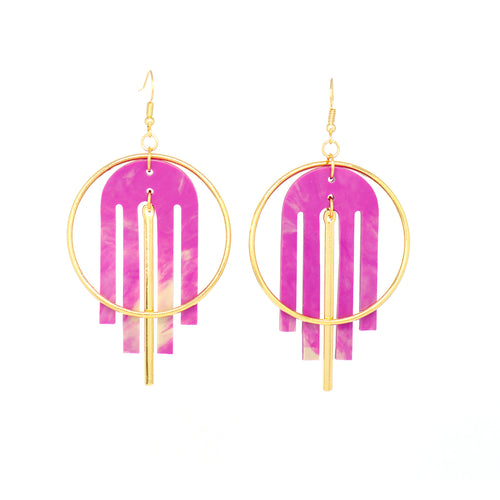 Arch Deco Earrings- Radiant Orchid