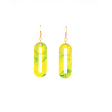 Load image into Gallery viewer, Elliptical Earrings- Lime