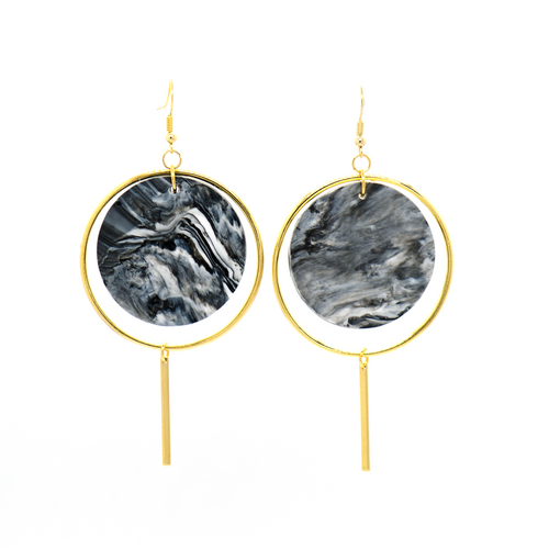 Halo Earrings- Black & White Marble