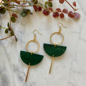 Eclipse Earrings- Malachite Green