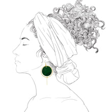 Load image into Gallery viewer, Halo Earrings- Malachite Green