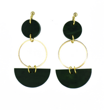 Load image into Gallery viewer, Mini Eclipse Earrings- Malachite Green