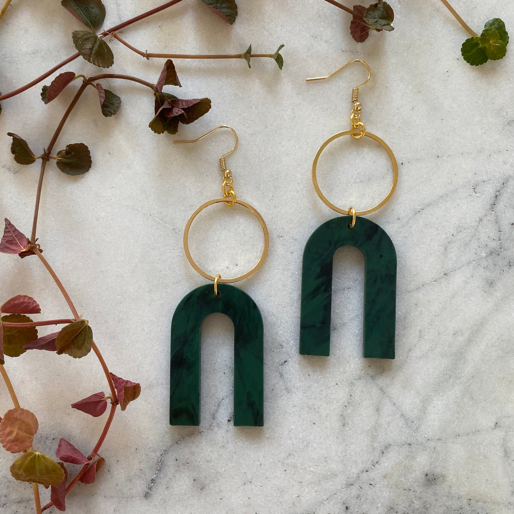 Magneto Earrings (L)- Forest green