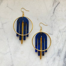 Load image into Gallery viewer, Arch Deco Earrings- Cosmic Blue