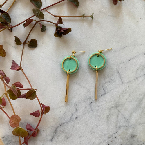 Mini Rise Earrings- Jade green marble