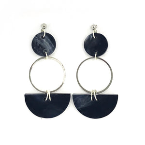 Mini Eclipse Earrings- Dark Grey Marble