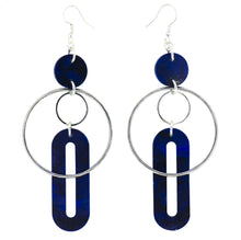 Load image into Gallery viewer, Solar Earrings- Dark Navy Blue Marble