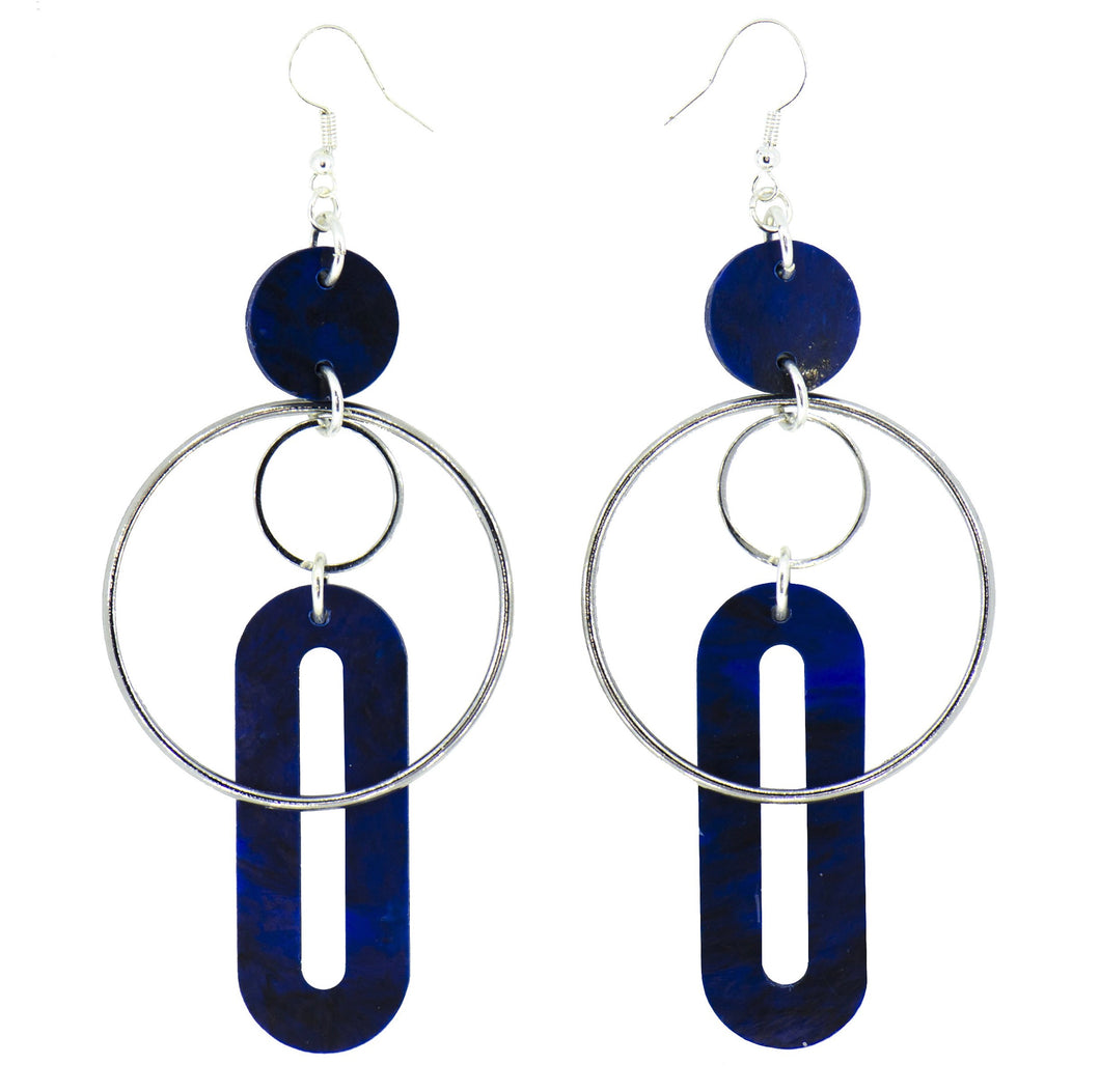 Solar Earrings- Dark Navy Blue Marble