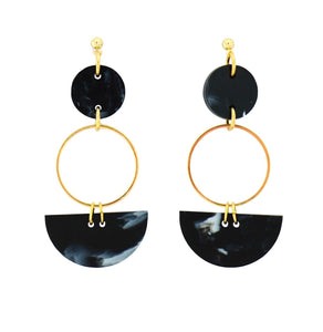 Mini Eclipse Earrings- Black Marble