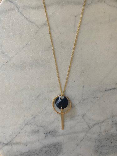 Mini Halo Necklace- Black & White Marble