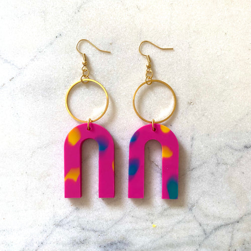 Magneto Earrings (L)- Pink Confetti