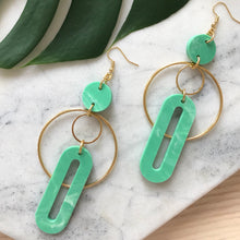 Load image into Gallery viewer, Solar Earrings- Jade Green Marble
