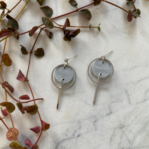 Mini Halo Earrings- Soft Grey