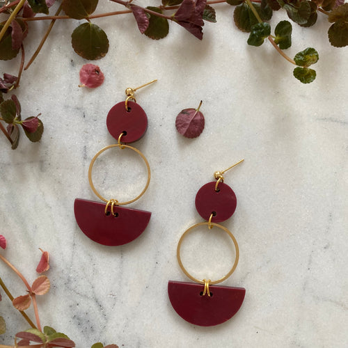 Mini Eclipse Earrings- Merlot Marble