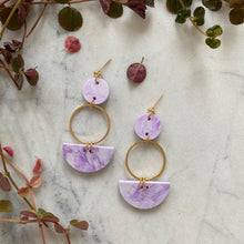 Load image into Gallery viewer, Mini Eclipse Earrings- Lavender Marble