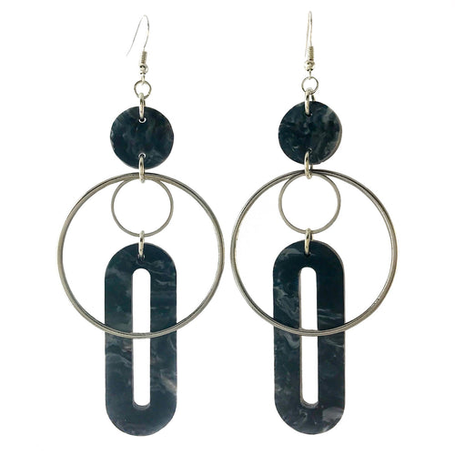 Solar Earrings- Dark Grey Marble