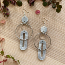 Load image into Gallery viewer, Solar Earrings- Pearlescent Grey Marble