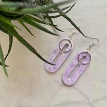 Load image into Gallery viewer, Elliptical Earrings- Lilac Marble
