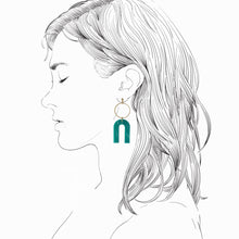 Load image into Gallery viewer, Magneto Earrings (L)- Teal Green Marble