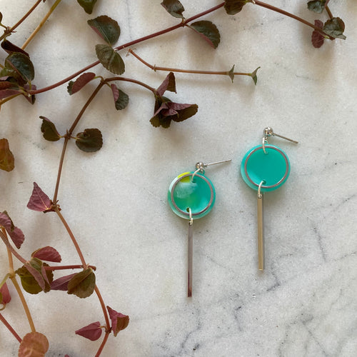 earring pair rise mini aqua green with yellow white spot 1