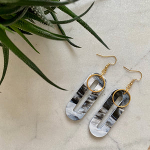 Elliptical Earrings- Black & White Marble