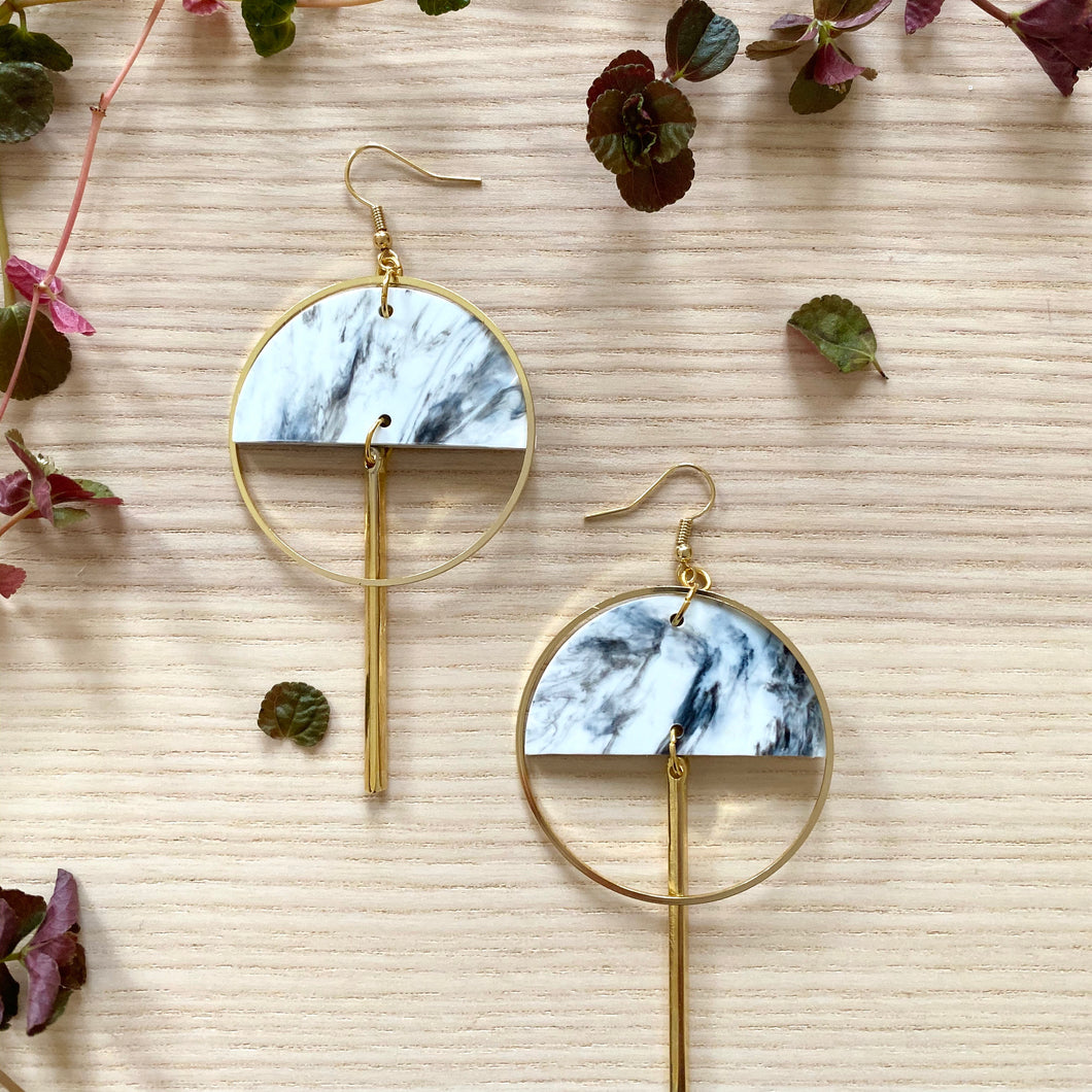 Lunar Earrings- White & Black Marble
