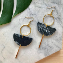 Load image into Gallery viewer, Eclipse Earrings- Dark Grey Marble